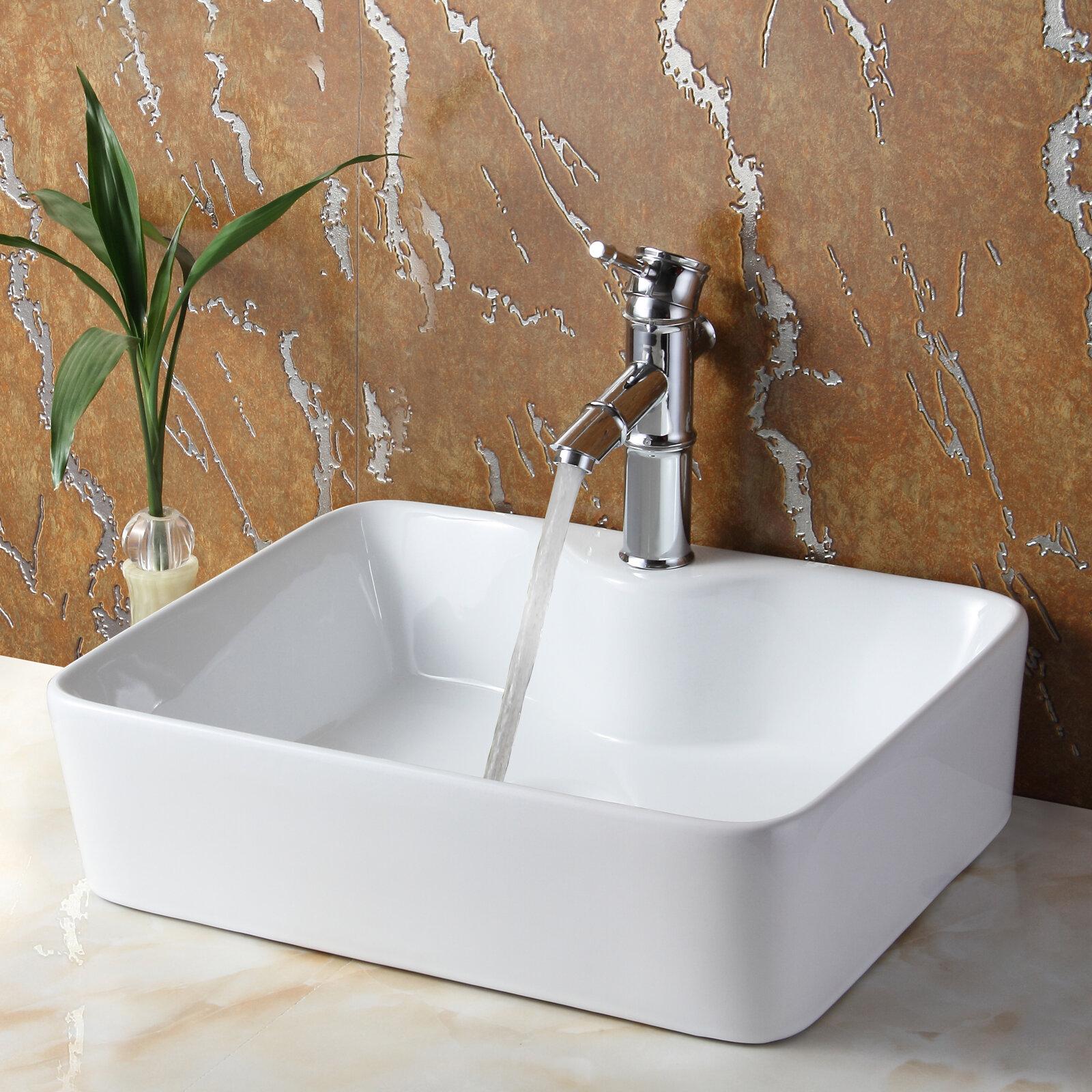 Elite Ceramic Rectangular Vessel Bathroom Sink & Reviews   Wayfair