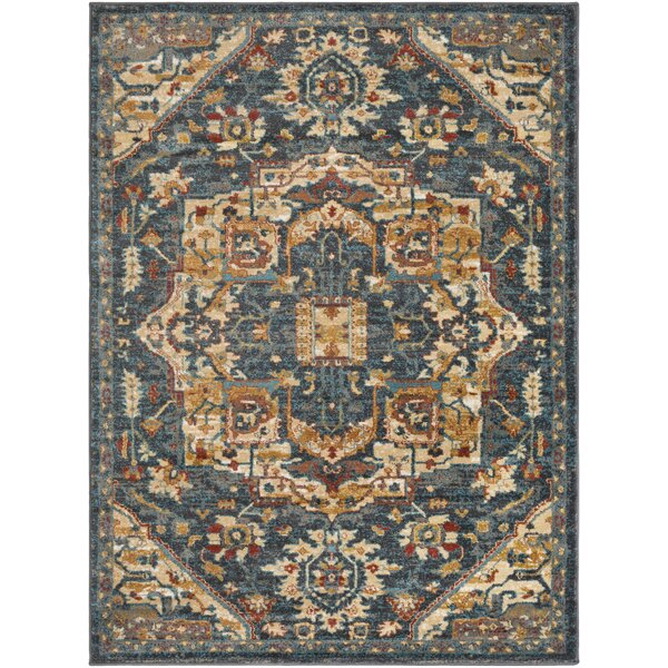 Eaglin Teal/Charcoal Area Rug by Charlton Home