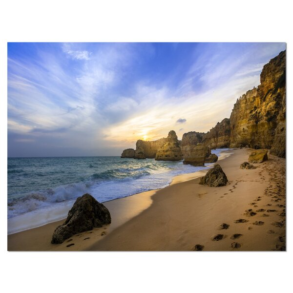 Beautiful Sunset Over Algarve Portugal Photographic Print on Wrapped Canvas by Design Art