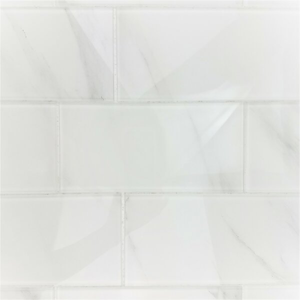 Nature Wall Backsplash Straight Edge 4 x 8 Glass Subway Tile in Calacatta White by Abolos