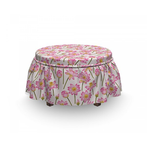 Lotus Blossoming Spring Flower 2 Piece Box Cushion Ottoman Slipcover Set By East Urban Home