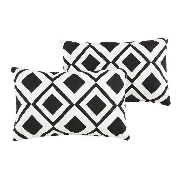 Hinnant Geometric Indoor/Outdoor Sunbrella Lumbar Pillow (Set of 2) by Brayden Studio