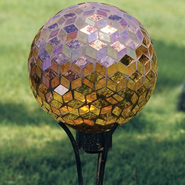 Art Glass Garden Auburn Iridescence Hand Painted Mosaic Glass Gazing Globe by Carson Home
