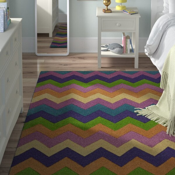 Shari Multi Chic Ziggy Zaggy Hand-Tufted Wool Purple/Green/Orange Area Rug