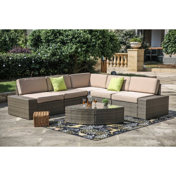 Pierceton 6 Piece Rattan Sectional Set with Cushions by Brayden Studio