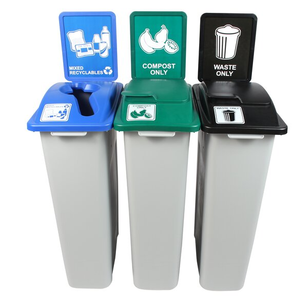 Waste Watcher® Mixed Recyclables Compost Circle Solid Lift 69 Gallon 3 Piece Recycling Bin Set by Busch Systems