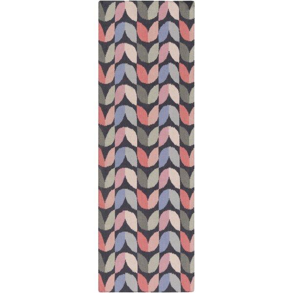 Native Geometric Hand Woven Wool Slate/Pink Area Rug by Aimee Wilder Designs