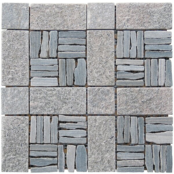 Landscape Wonder 12 x 12 Quartzite Alternate Natural Stone Blend Mosaic Tile in Two-tone Gray by Intrend Tile