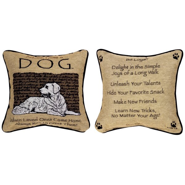 Advice from a Dog Throw Pillow by Manual Woodworkers & Weavers
