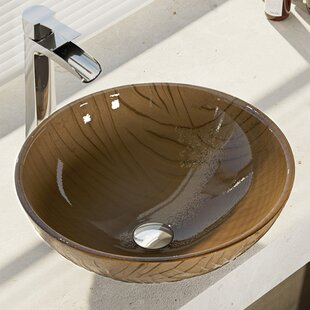 Reviews Tawny Glass Circular Vessel Bathroom Sink with Faucet By René By Elkay