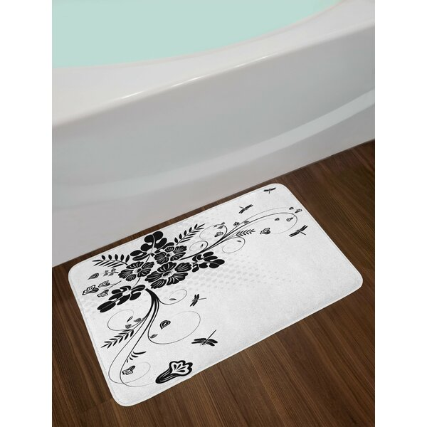 Floral Black White Dragonfly Bath Rug by East Urban Home