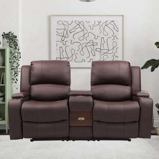 Allie 66.6 Faux leather Recessed Arm Reclining Loveseat by Industrial Lodge Home