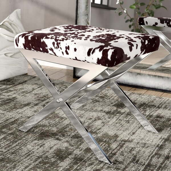 Wildcat Hills Cow Hide Print Vanity Stool by Trent Austin Design