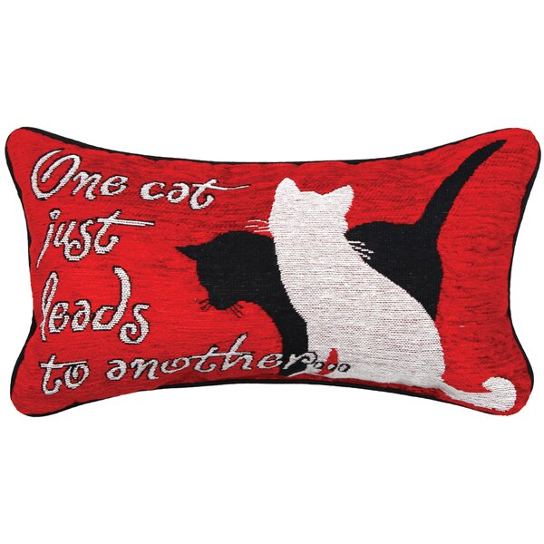 Kitty Talk One Cat Lumbar Pillow by Manual Woodworkers & Weavers