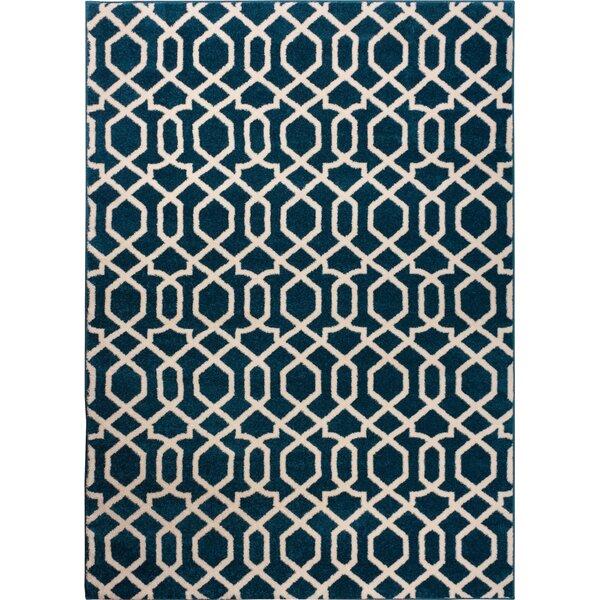 Burgess Geo Helix Navy Blue Area Rug by Ebern Designs