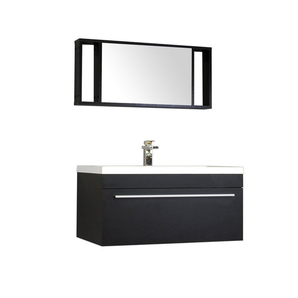 Waldwick 36 Single Wall Mount Modern Bathroom Vanity Set with Mirror by Wade Logan