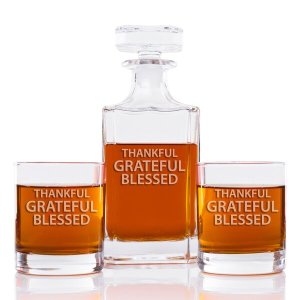 Hooli Thankful Grateful Blessed Classic 3 Piece Beverage Serving Set by August Grove