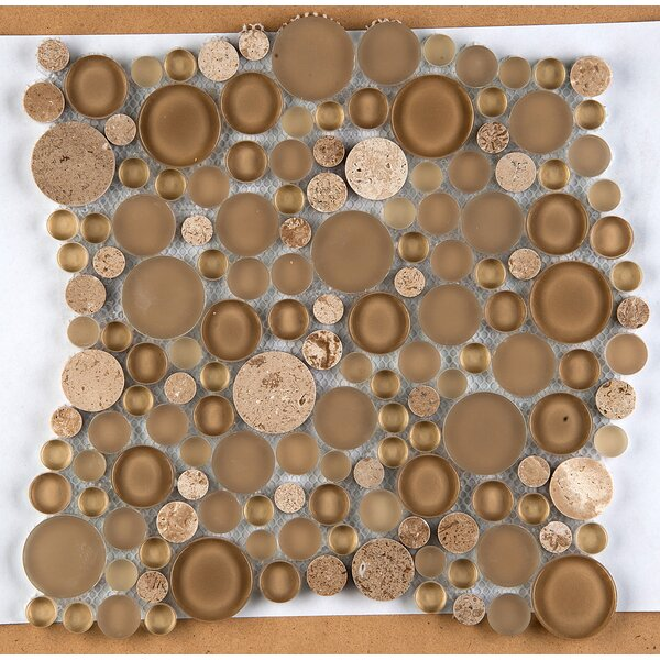 Lucente 12 x 12 Glass Stone Blend Circle Mosaic Tile in Regale by Emser Tile
