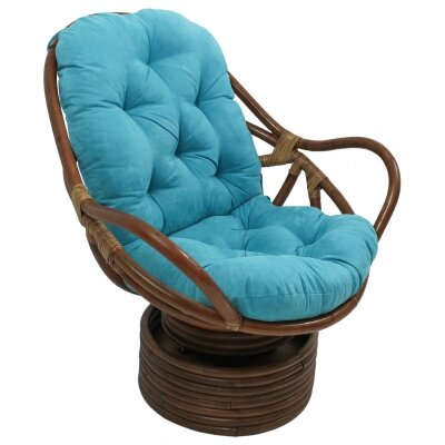 International Caravan Rattan Swivel Papasan Chair