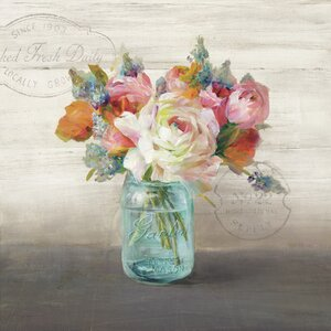 French Cottage Bouquet II Nautral Burlap Box by Danhui Nai Painting Print by Star Creations