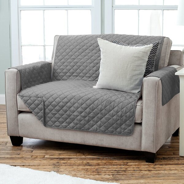 Oberon Diamond Quilt Box Cushion Loveseat Slipcover by Andover Mills