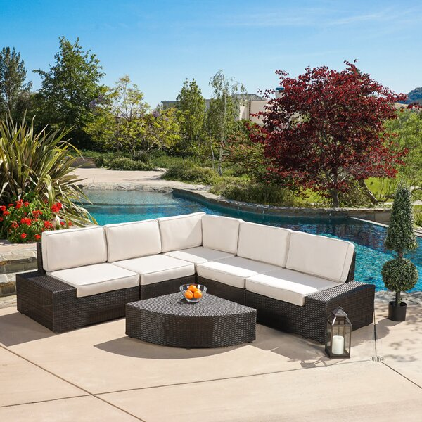 Thornton 6 Piece Sunbrella Sectional Set with Cushions by Rosecliff Heights