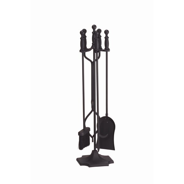 4 Piece Ball Handle Iron Fireplace Tool Set by Minuteman International