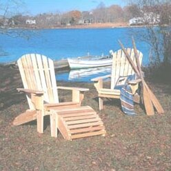 Hopkins Wood Folding Adirondack Chair with Ottoman by Loon Peak