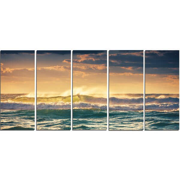 Sunrise and Shining Waves in Ocean 5 Piece Photographic Print on Wrapped Canvas Set by Design Art