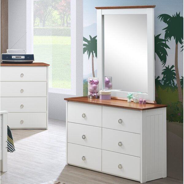 Farah 6 Drawer Double Dresser with Mirror by Breakwater Bay