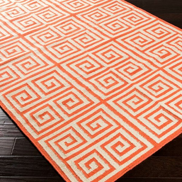 Lowery Poppy Red/Ivory Geometric Area Rug by Ebern Designs