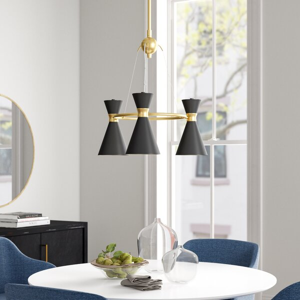 Silas 3 - Light Shaded Wagon Wheel Chandelier by Foundstone Foundstone