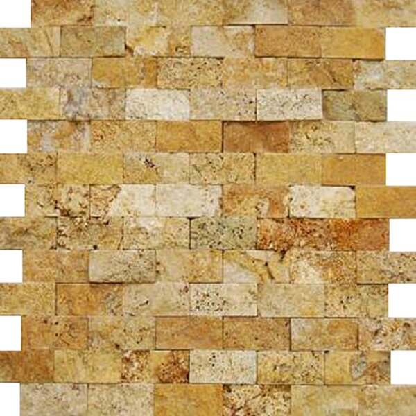 1'' x 2'' Travertine Splitface Tile in Golden Sienna by Epoch Architectural Surfaces