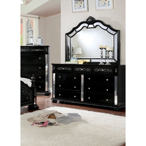 Orrington 9 Drawer Double Dresser with Mirror by Everly Quinn