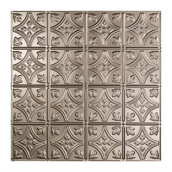 Traditional 1 2 ft. x 2 ft. Drop-In Ceiling Tile in Brushed Nickel by Fasade
