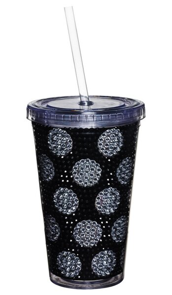 Hinderliter Polka Dot Bling 17 oz. Plastic Travel Tumbler by House of Hampton
