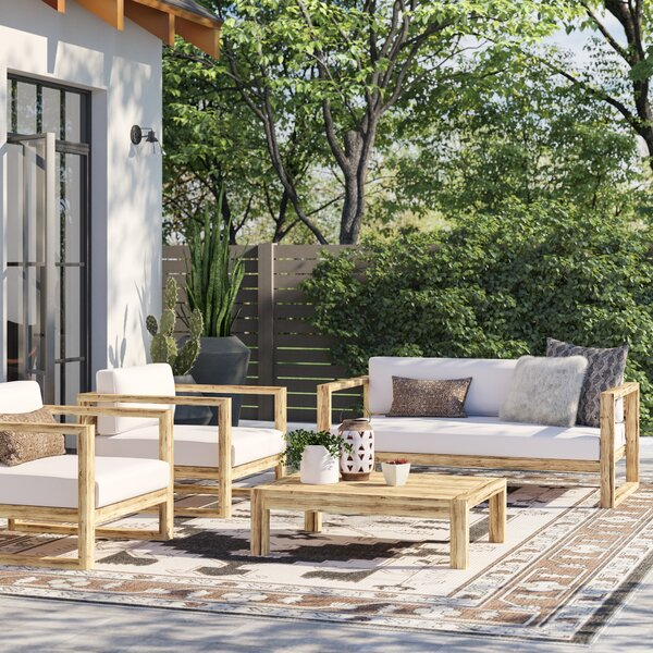Erler 4 Piece Teak Sofa Seating Group with Cushions by Foundry Select