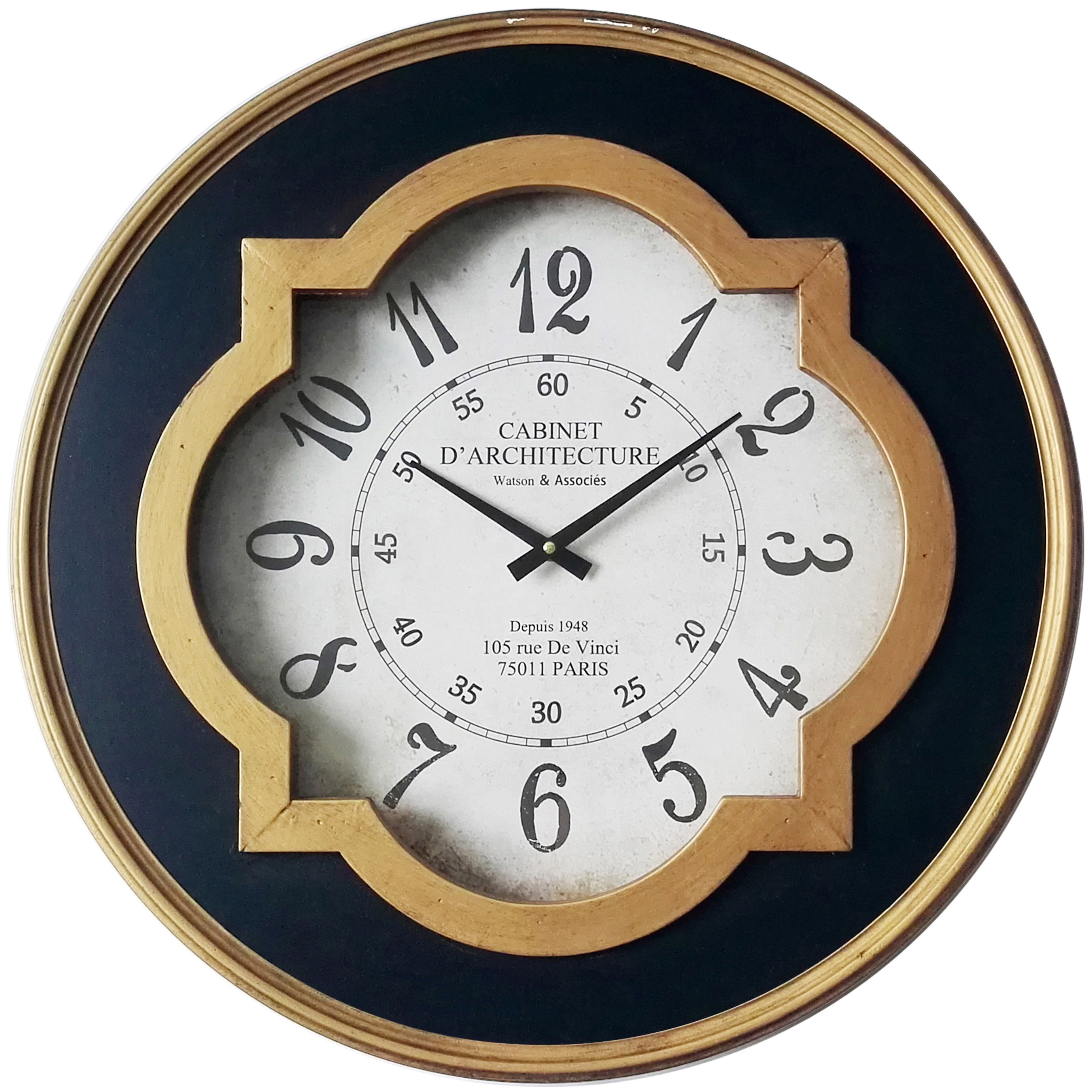 Astoria Grand Round Metal Oversized Wall Clock & Reviews