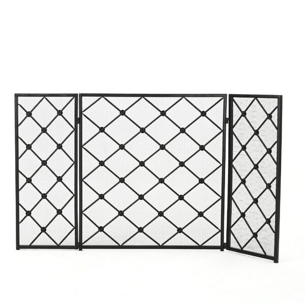 Prater 3 Panel Iron Fireplace Screen by Winston Porter