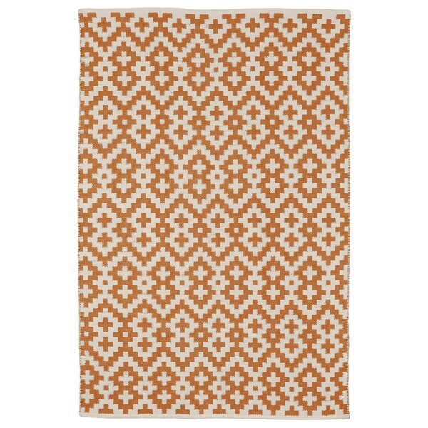 Zen Samsara Cotton Orange Peel & Bright White Area Rug by Fab Habitat