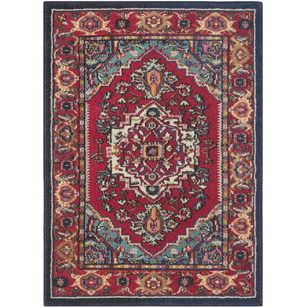 Arianna Red/Turquoise Area Rug by Bungalow Rose