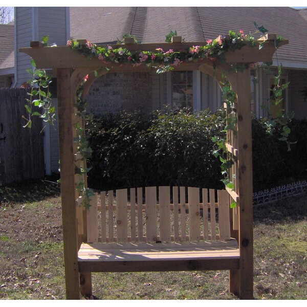 Fan Back Garden Wood Arbor with Bench by Threeman Products