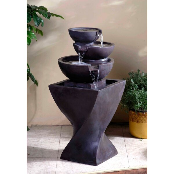 Resin/Fiberglass  Tiered Modern Bowls Fountain by Jeco Inc.