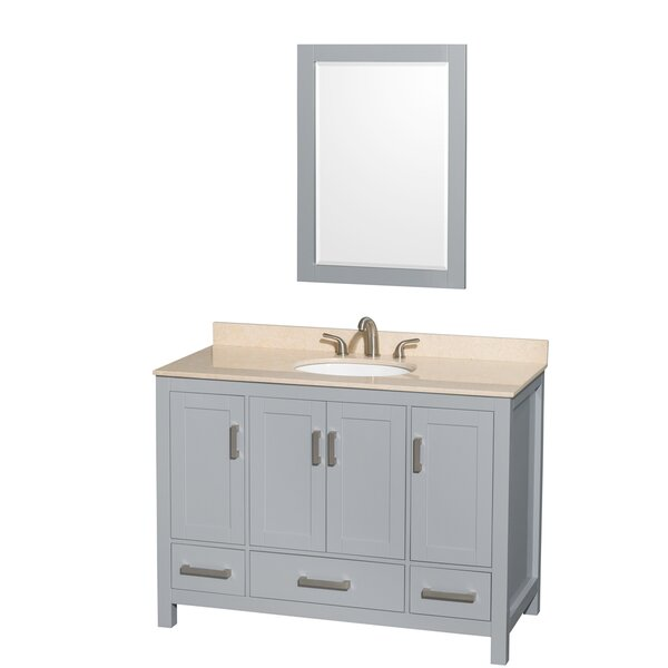 Sheffield 48 Single Gray Bathroom Vanity Set with Mirror by Wyndham Collection