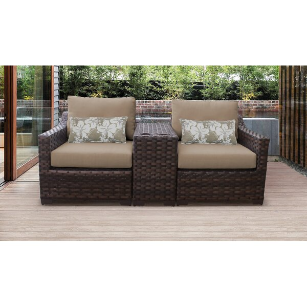 kathy ireland Homes & Gardens River Brook 3 Piece Outdoor Conversation Set by kathy ireland Homes & Gardens by TK Classics