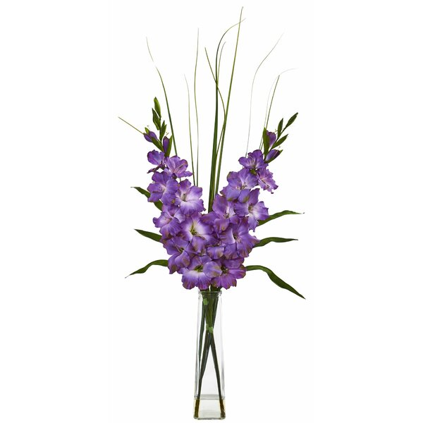Artificial Gladiola Floral Arrangement in Vase by Winston Porter
