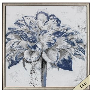 'Navy Blue Dahlia' Framed Painting Print by Propac Images