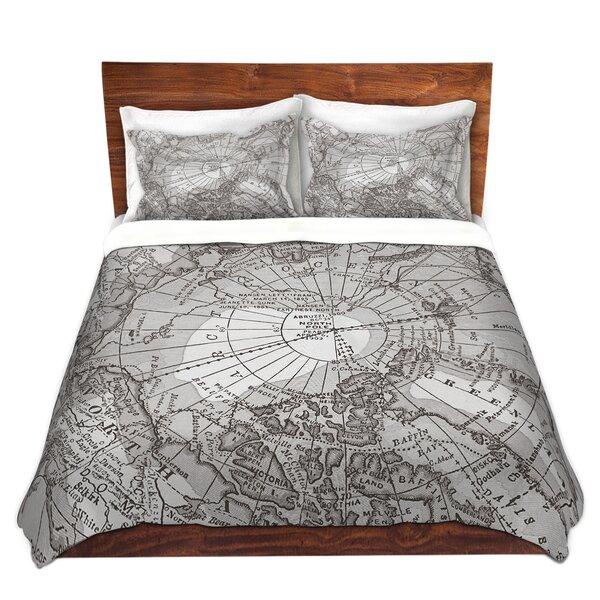 Arctic Light Gray Map Duvet Set by DiaNoche Designs