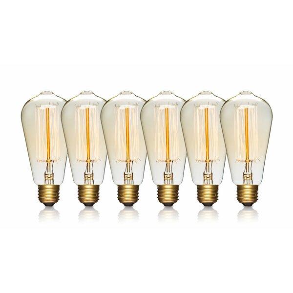 60W E26/Medium Vintage Incandescent Filament Light Bulb (Set of 6) by LightLady Studio
