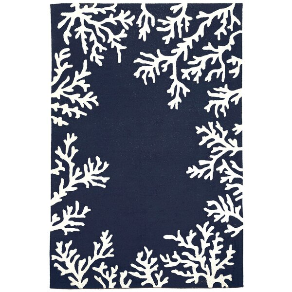 Claycomb Hand-Tufted Navy/Cream Indoor/Outdoor Area Rug by Highland Dunes